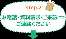 Step.2 お電話・資料請求・ご来訪にてご連絡ください